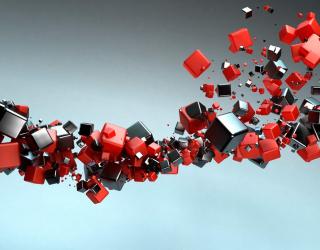 3д фотообои Черные и красные кубы 6296
