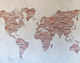 Фотообои Карта на стене из кирпичей 21582
