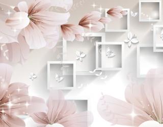 Фотообои  Абстрактные обьемные цветы 22327