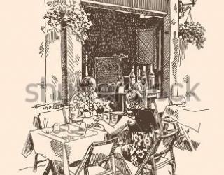 Фотообои Кафе, столики, люди  234143845
