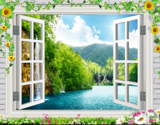 Фотообои Водопад за окном 25386