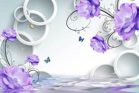 Фотообои Фиолетовые цветы с кругами