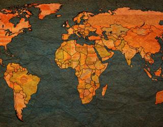 Фотообои Карта  мира на фоне бумаги 20235