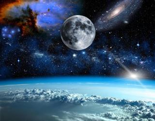 Фотообои космос и луна над олаками 20718