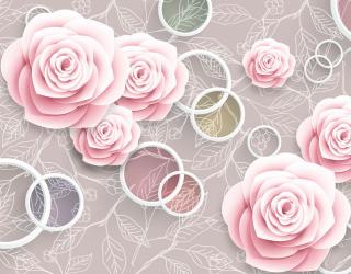 Фотообои Розовые 3Д розочки 20065