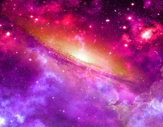 Фотообои Фиолетовое космическое небо 26592