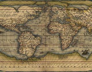 Фотообои Винтажная карта мира 22637