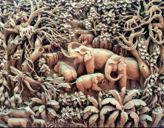 Фотообои деревянные слоны 21044