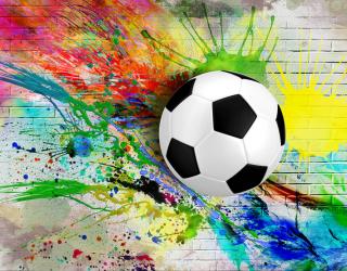 Фотообои Мяч и краска на фоне стены 22971