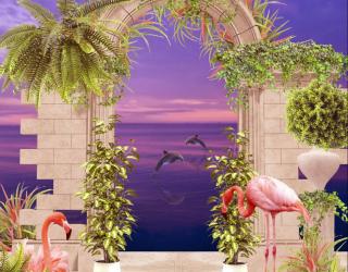 Фотообои Арка с фламинго 28047