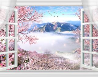 Фотообои Вид из окна на Фудзияму а097