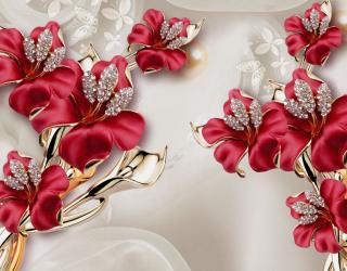 Фотообои Бордовые цветы 3Д 20001