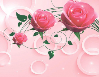 Фотообои Розовые розы 3d 16137