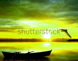 Фотообои Море, лодка, чай 393398692