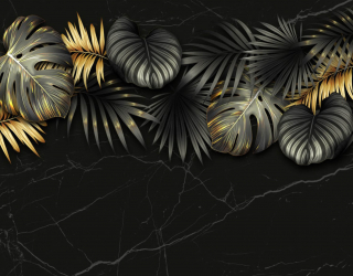 Фотообои Золотые листья на черном 27626