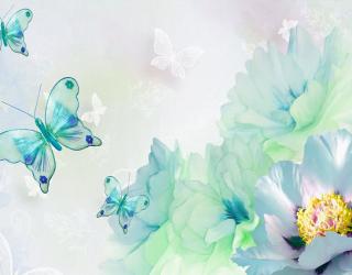 Фотообои Цветы и бабочки 23766