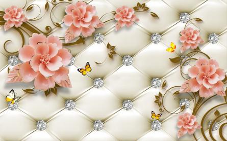 Фотообои Керамические цветы на фоне оббивки