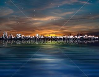 Фотообои Город, море, небо 346672292