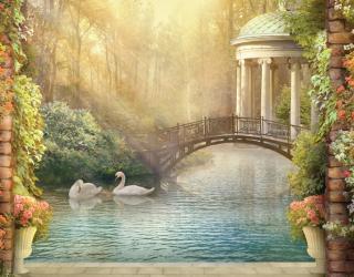 Фотообои Лебеди на пруду 22384
