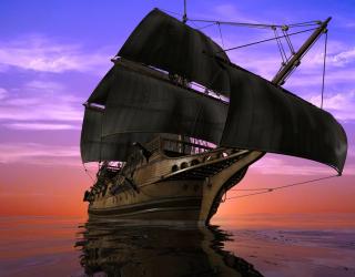 Фотообои Корабль на закате 20330