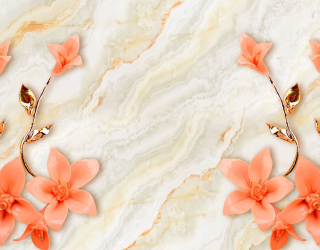 Фотообои Оранжевые цветы с ветками 20123