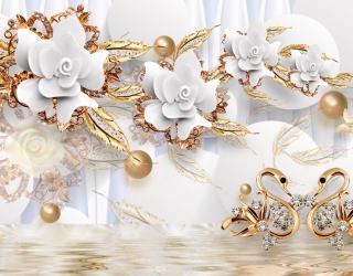 Фотообои Керамические цветы с золотом 20135