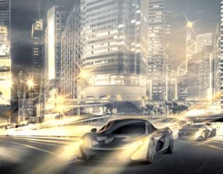 Фотообои Машина на фоне ночного города 24051