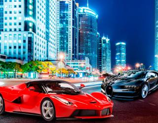 Фотообои Машины на фоне города 20096