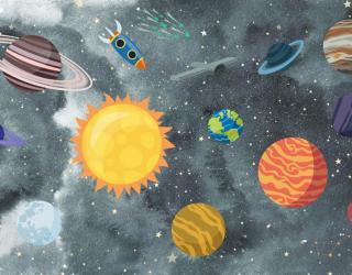 Фотообои Ракеты и космические планеты 28996