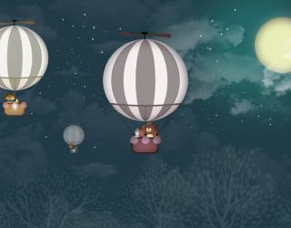 Фотообои Воздушные шары в ночном небе 23047