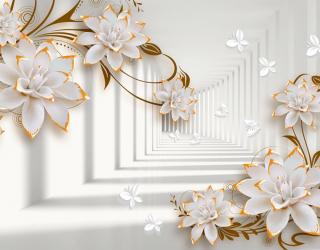 Фотообои Тонель с керамическими цветами 20143