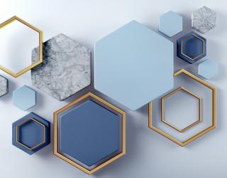 Фотообои Синие шестиугольники 22153