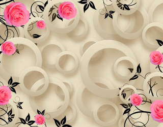 Фотообои Розы и круги 3d 18780