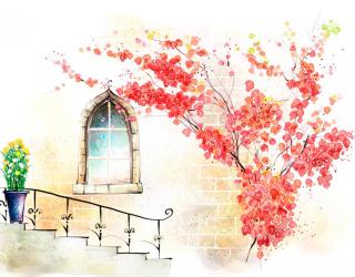 Фотообои Окно и лестница 9343
