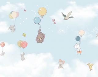 Фотообои Звери в небе на воздушных шариках 23033