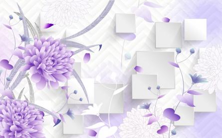 Фотообои Фиолетовые цветы 3д