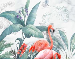 Фотообои Фламинго и листья 22083