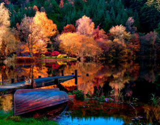 Фотообои Под осень, лодка 12594