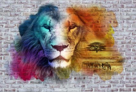Фотообои Стена 3д со львом