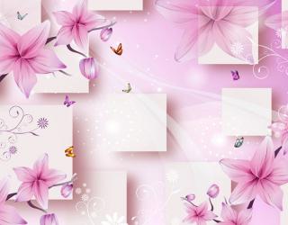Фотообои 3д розовые цветы 22573