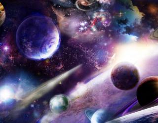 Фотообои яркий космос с планетами 21464
