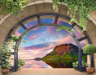Фотообои Вид из окна на гору 22918