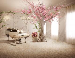 Фотообои Сакура с роялем 19482