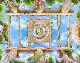 Фотообои Колоннны с видом на небо  22519