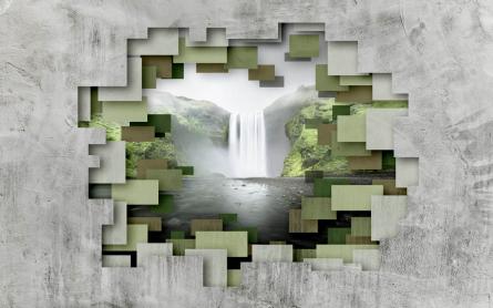 Фотообои 3д стена с водопадом