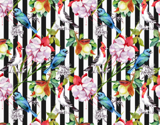 Фотообои Полосатая стена с цветами 19952