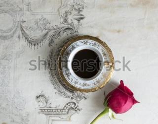 Фотообои Кофе, чашка, роза 257692375