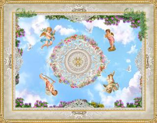 Фотообои Потолочные фотообои с ангелочками 22509