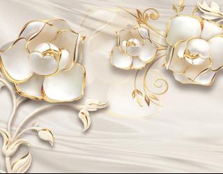 Фотообои Белые цветы 3d 18737