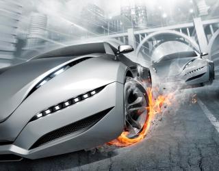 Фотообои Авто в огнях 0935